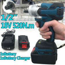 """18V 1/2"""" 520Nm Torque Brushless Cordless Electric Impact Wrench Driver + Battery"""
