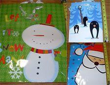 Christmas Gift bags 3ct Asst - 1-Snowman- Large 1-Santa-Med 1-Penguins-Sm NEW