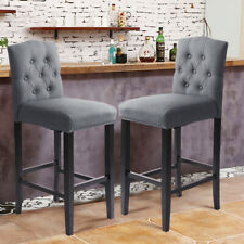 Linen Fabric Bar Stool Kitchen Footrest Footstool Padded Seat Buttoned Back 1/2x
