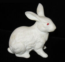 Vintage White Bisque Bunny Rabbit Figurine Porcelain Albino Red Eyes Antique