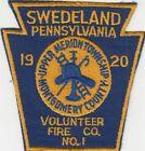 SWEDELAND PA Volunteer Fire Dept Engine Emblem , Patch Merion Twp 1920