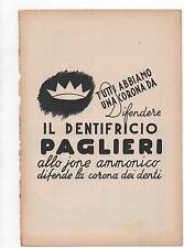 Pubblicità epoca 1950 DENTIFRICIO PAGLIERI DENTI advert werbung publicitè reklam