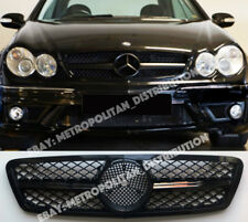 Mercedes C, w203, 2001-07, Single Fin, Central Star AMG c63 Rejilla, deporte, Negro Brillante