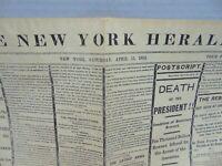 Lincoln Assassination Newspaper New York Herald Reprint (April 15, 1865)