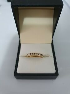 9ct Yellow Gold Ladies Grain Set Wedding Eternity Band 10 cut Diamonds size L