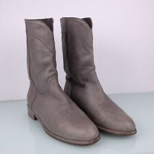 Chanel Ascot Grey Leather Mid Calf Cowboy Ridding Boots Booties CC Logo 41.5