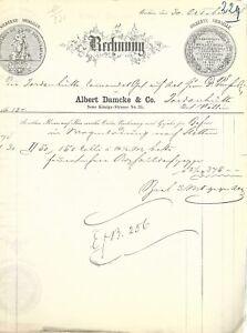 ASPHALT- u. ZEOLITH-STEINPAPPEN, Albert Damcke, Berlin: Rechnung von 1874