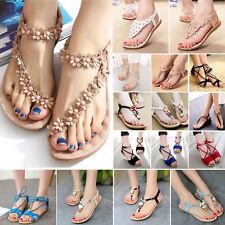 Summer Womens Boho Flats Shoes Beach Sandals Ladies T-Strap Slippers Flip Flop