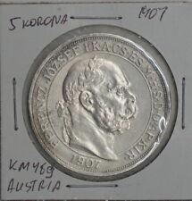 1907 Austria 5 Korona 40th Anniversary - Coronation of Franz Josef KM# 489