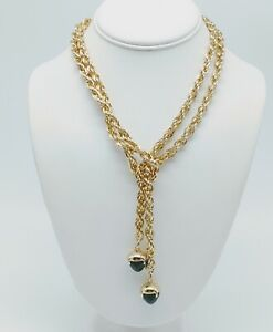 VINTAGE CHUNKY GOLD TONE ROPE CHAIN BEADED LARIAT STYLE NECKLACE