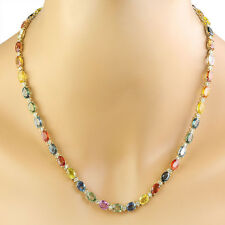 41.40 Carat Natural Sapphire & Diamond 14K Yellow Gold Luxury Necklace