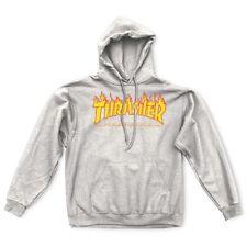 Thrasher Magazine Flames Logo Pullover Skateboard Hoodie Gray Small