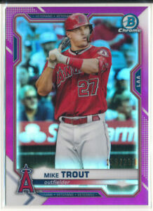 2021 Bowman Chrome #54 Mike Trout Fuchsia Refractor /299 Los Angeles Angels
