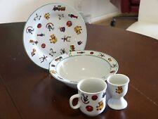 Rare! Vintage 4 Piece Porcelain Childs Breakfast Set with Teddy Bear Pattern