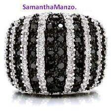 Black White Micro Pave Cz Cocktail Right Hand Ring Sz.5