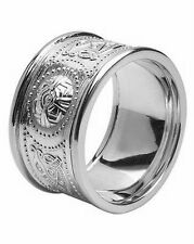 Gents 14k White Gold Irish Handcrafted Celtic Warrior Wedding Ring 12mm Width