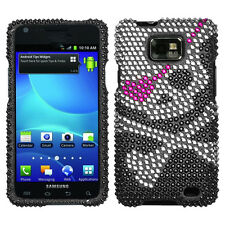 For Straight Talk Samsung Galaxy II 2 S959G Crystal BLING Case Phone Cover Skull