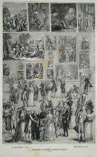 GRAVURE XIXème EXPOSITION DE PEINTURE AU SALON DU LOUVRE EN 1737 (A)