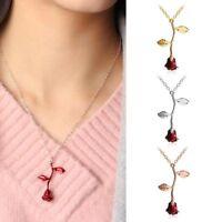 Charme Valentinsgruß-Geschenke Halskette Schmuck Rote Rose Blumen Anhänger
