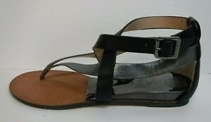 Vince Camuto Size 5.5 Black Silver Leather Sandals New Womens Shoes
