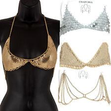 Women Belly Metal Bra Chain Body Chest Bikini Jewelry Waist Harness Beach Dancer