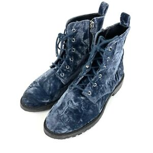 Rebecca Minkoff Gerry Combat Boots Womens 6 Crushed Velvet Lace Up
