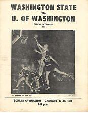 1963-64 Washington State-Washington Program/Scorecard Cougars Nip Huskies!!