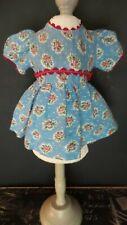 Vintage! Blue Floral & Rick Rack Trimmed Dress for 1950 Era Hard Plastic Dolls