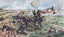 1v5: Gemälde Schlacht kämpfende Artillerie Preussen Zügelschüler H.Sattler ~1919