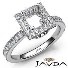 Diamond Engagement 14k White Gold Halo Princess Semi Mount Milgrain 0.5Ct Ring