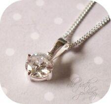 Plata Esterlina 925 ronda diamante solitario CZ Colgante Collar ~ Regalo En Caja