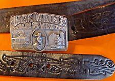 Jack Daniels Whiskey No.7 Leather Belt & Buckle 1998 A-190 UNISEX Black P/8