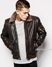 Diesel piel de cordero cuero chaqueta abrigo M Nuevo