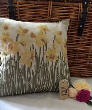 Handmade In Wales Beautiful Dafodil Design Cushion Pillow cover gift