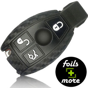 Auto Schlüssel Hülle Silikon Mercedes-Benz Anhänger Schutz Cover Carbon Schwarz