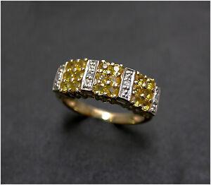 Citrine & Diamond Ring  size L 1/2  9ct Gold Beautiful & Bright  B/ham HM 2005