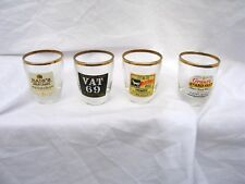 X4 Rare Vintage Whisky Advertising Nip Glasses Gilded Collectable Wiskey Glass