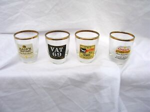 Vintage Whisky Shot Glasses Advertising Gilded Collectable Whiskey Glass Old
