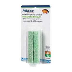 Aqueon Replacement Phosphate Remover Filter Pads Size 30/50 4 Per Pack