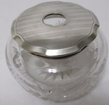 Antq Unger Bros Sterling Silver Deco HAIR RECEIVER LID Hobstar & Fan Crystal JAR
