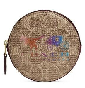 ❤️ Coated Coated Canvas Signature Rexy And Carriage Round Coin Case