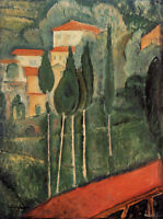 Perfect Oil painting amedeo modigliani - Landscape, Southern France with house