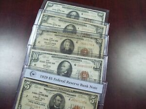 1929 National Currency (set of 5 notes)