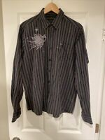 RVCA ANP L/S Button Down Shirt Mens Slim Fit Size L Embroidered By PM TENORE