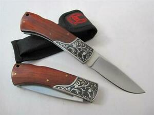 Handmade Wood Handle Red Acid fine vulture carve patterns Folding Pocket Knife