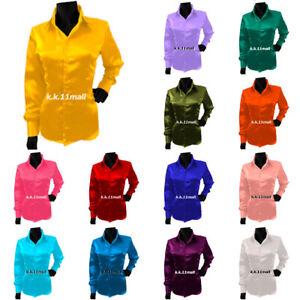 Satin long Sleeve Shirt shirt/ Casual Blouse / party wear Girls Shirt S81