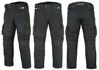 Mens CE Armoured Cordura Motorcycle Motorbike Waterproof Cargo Trousers Pants