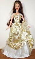 Mattel Vintage Brunette Barbie Doll With Gold Dress and Crown