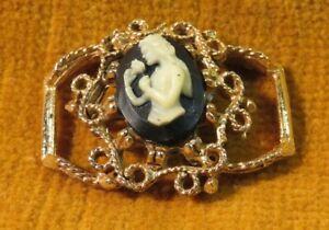 Vintage Cameo Chocker Pendant w/ GoldTone & Black Onyx