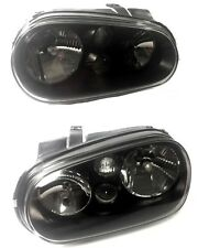 99-06 VW Golf GTI MK4 Headlights W/O Fog Black Housing Clear Glass Cristal Lens